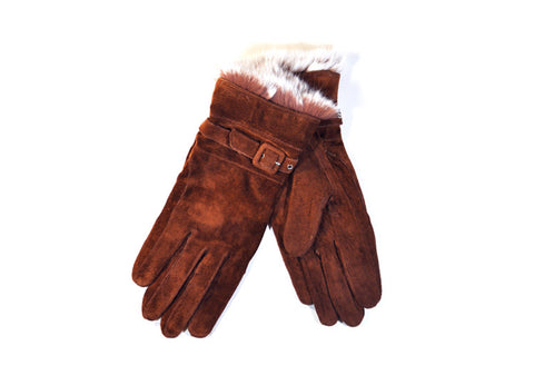 Dents Suede & Rabbit Fur Women's Gloves - Cognac