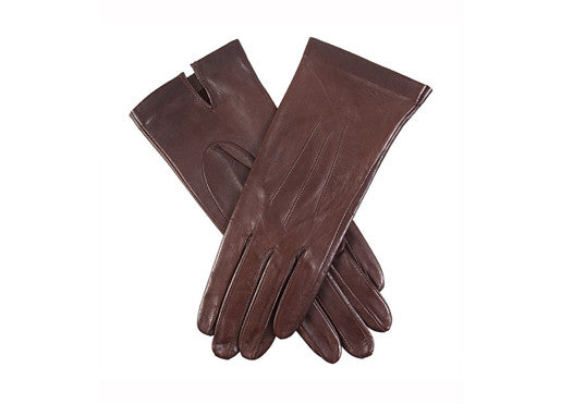 Dents Hairsheep Leather Unlined Women's Gloves - Dark Brown