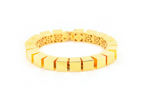 Eddie Borgo Small Smooth Cube Bracelet - Gold