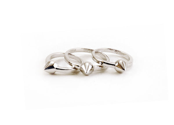 Eddie Borgo Single Cone Ring Set - Silver