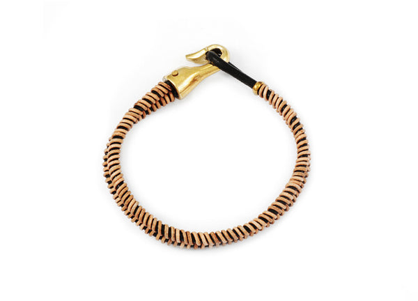 George Frost Double Strand Woven Leather Bracelet - Natural & Black