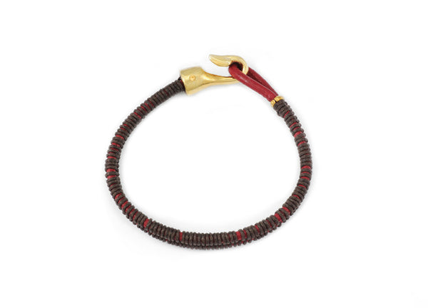 George Frost Double Strand Woven Leather Bracelet - Red & Brown