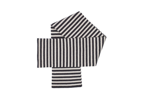 Jo Gordon Horizontal Stripe Scarf - Charcoal