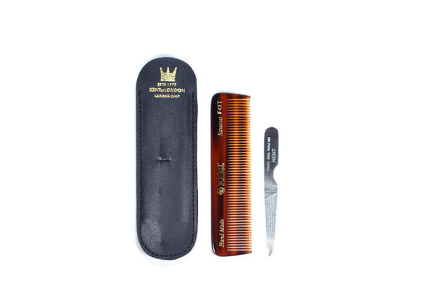 Kent Handmade Pocket Comb with Leather Case & Metal File