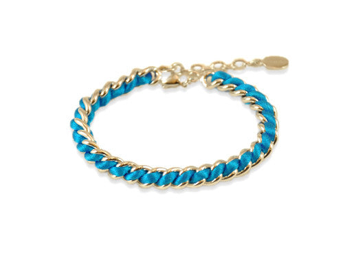 Lucas Jack Rhodium Plated Chain & Turquoise Thread Bracelet