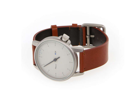 Miansai M24 White Watch on Brown Leather Strap