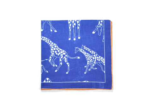 Seaward & Stearn Blue Giraffe Linen Pocket Square