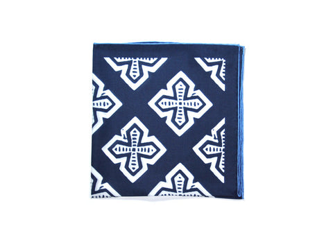 Seaward & Stearn Navy & White Crosses Silk Pocket Square