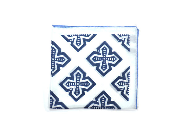 Seaward & Stearn White & Navy Crosses Silk Pocket Square