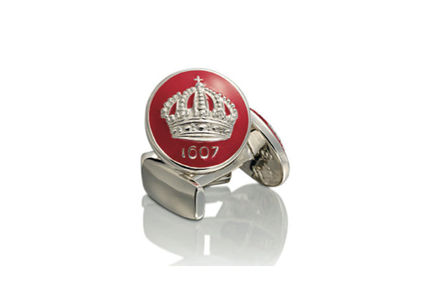 Skultuna Crown Cufflinks - Silver & Red