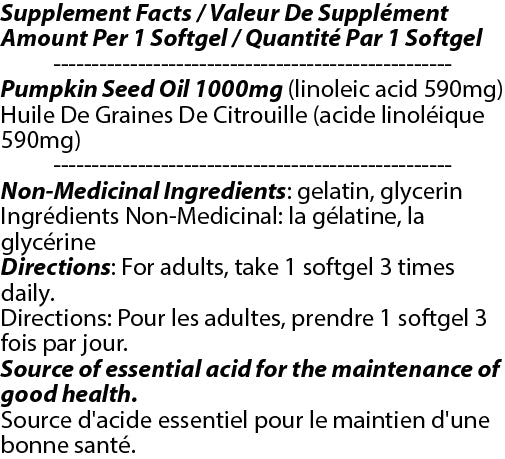 Pumpkin Seed Oil 1000mg 180s