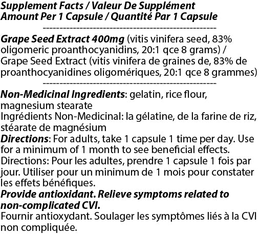 OPC Grape Seed Extract 400mg 90c