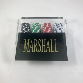 Poker Chips in Black Acrylic Holder