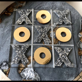 Acrylic Tic Tac Toe Board - Big Silver Sparkle and Gold Mirror