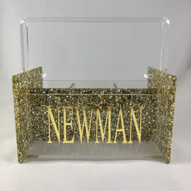 Gold Sparkle Acrylic Caddy