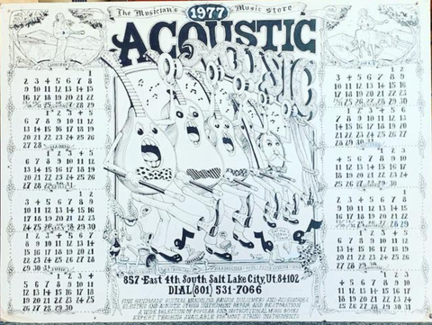 An Acoustic Music calendar we found lying around from 1977