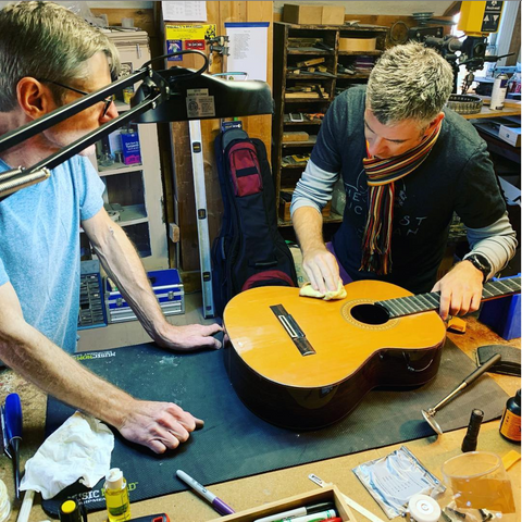 guitar repair in progress at Acoustic Music SLC