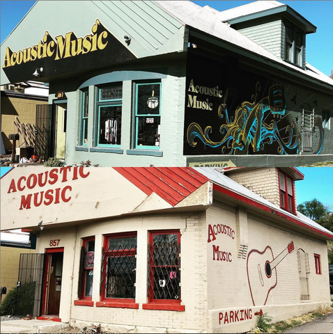 photograph contrasting the original and the remodeled Acoustic Music storefronts
