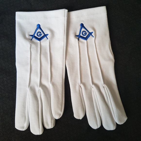Masonic Gloves with Blue Square and Compass