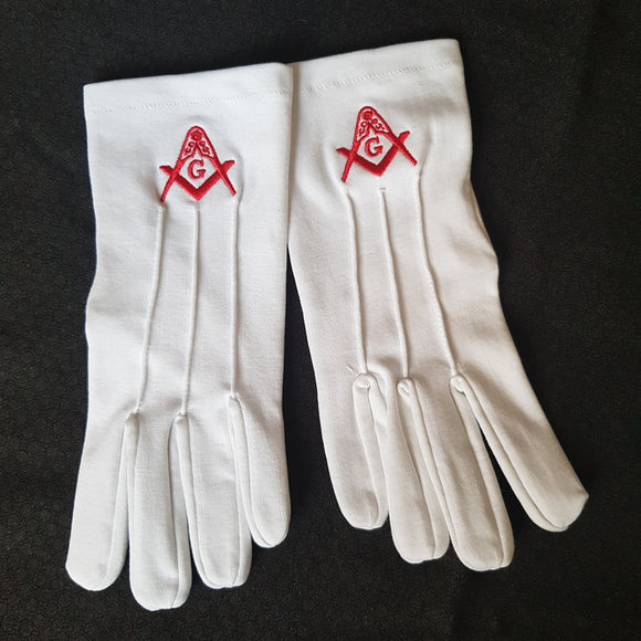 Masonic Gloves with Red Square and Compass