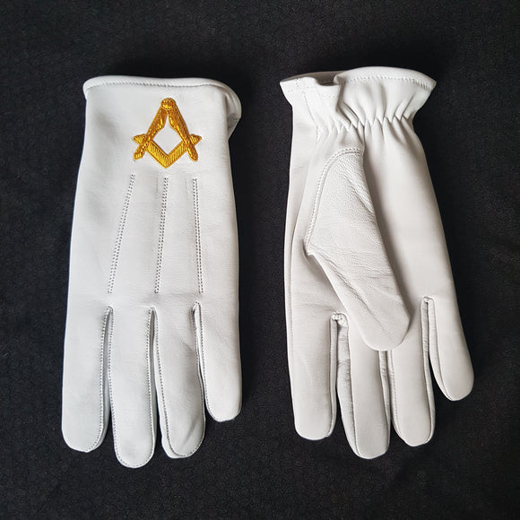 White Leather Square and Compass Gloves
