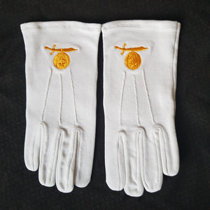 White Shriners Gloves
