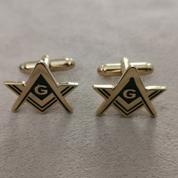 Gold Square and Compass Cufflinks
