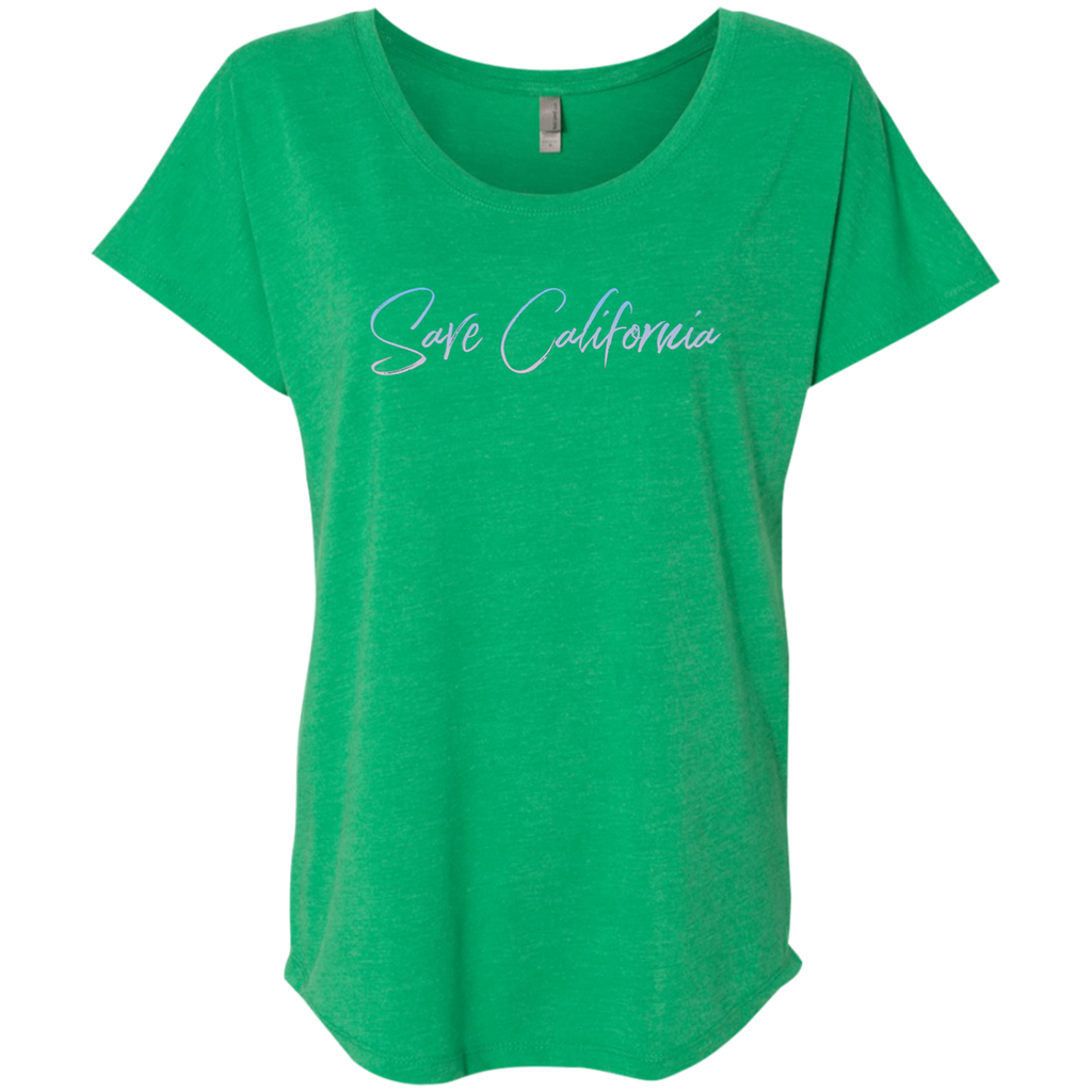 CustomCat T-Shirts Envy / X-Small Save California Ladies' Triblend Dolman Sleeve