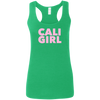 CustomCat T-Shirts Heather Irish Green / S Cali Girl Pink Font Ladies' Softstyle Racerback Tank