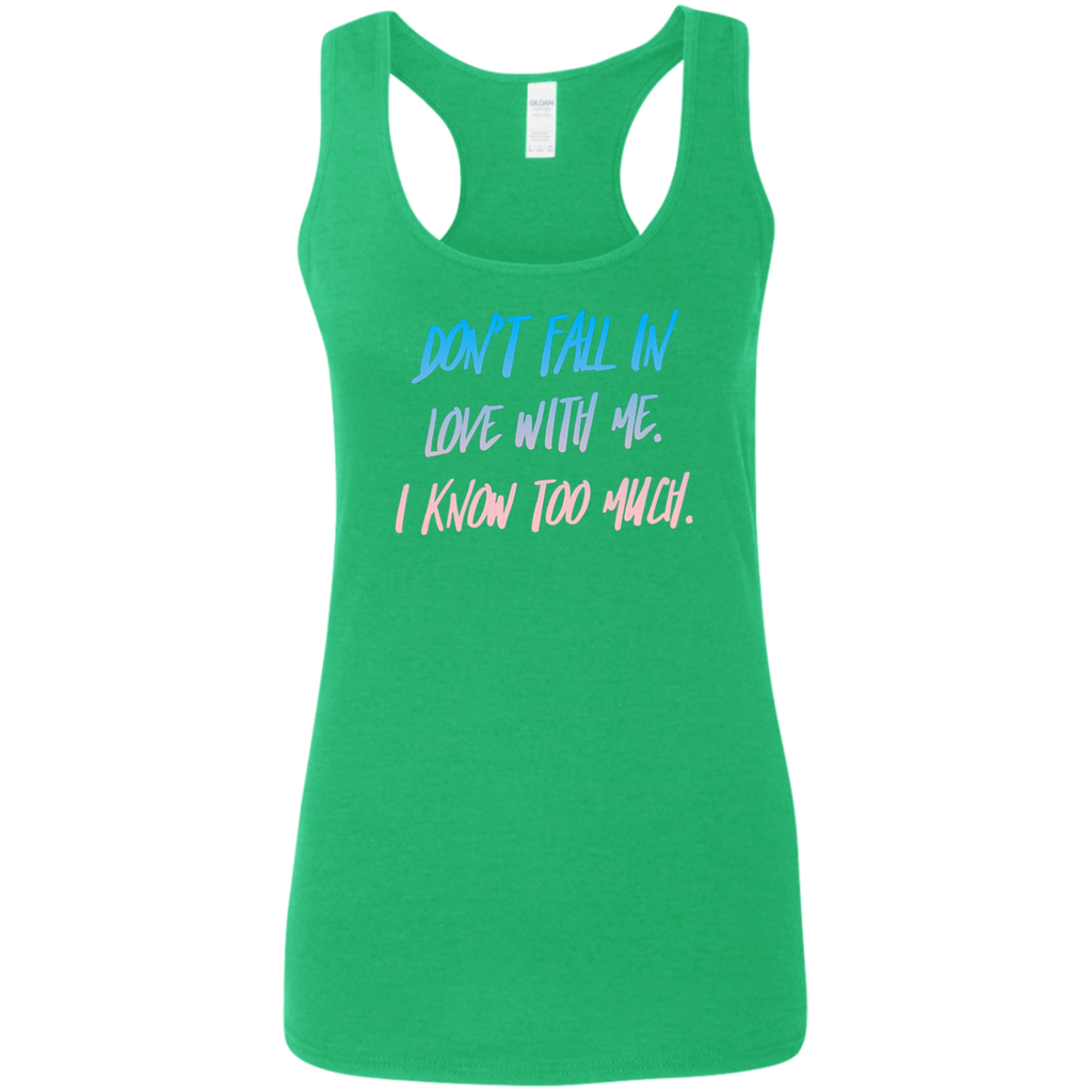 CustomCat T-Shirts Heather Irish Green / S Don't Fall In Love Multi-color Ladies' Softstyle Racerback Tank