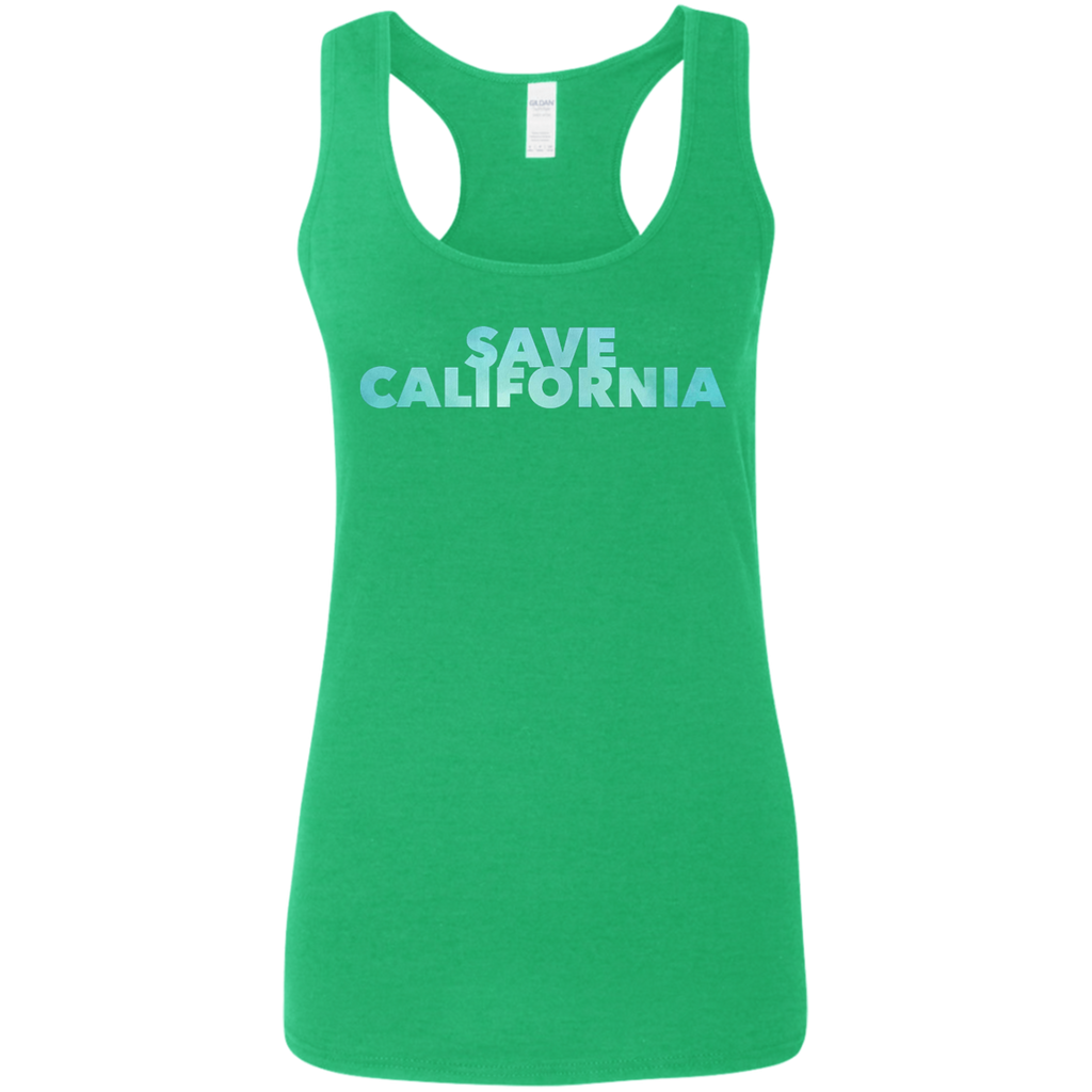 Save California Bold Font Ladies' Softstyle Racerback Tank