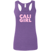 CustomCat T-Shirts Heather Purple / S Cali Girl Pink Font Ladies' Softstyle Racerback Tank
