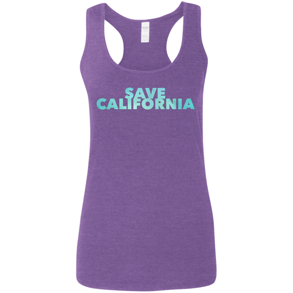 CustomCat T-Shirts Heather Purple / S Save California Bold Font Ladies' Softstyle Racerback Tank