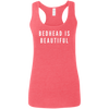 CustomCat T-Shirts Heather Red / S Bedhead Is Beautiful White Font Ladies' Softstyle Racerback Tank