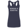 CustomCat T-Shirts Navy / S Bedhead Is Beautiful White Font Ladies' Softstyle Racerback Tank
