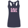 CustomCat T-Shirts Navy / S Cali Girl Pink Font Ladies' Softstyle Racerback Tank