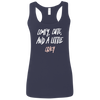 CustomCat T-Shirts Navy / S Cute Crazy White-Pink Font Ladies' Softstyle Racerback Tank