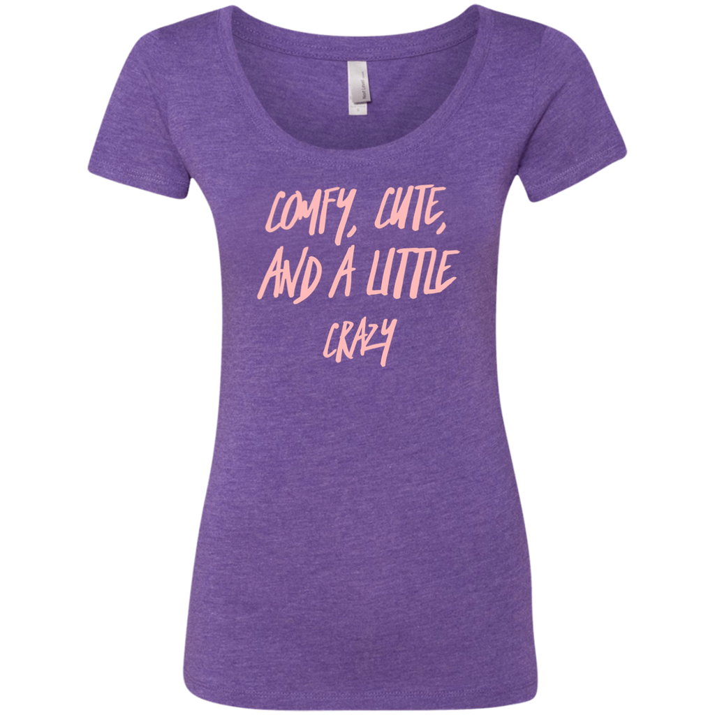 CustomCat T-Shirts Purple Rush / S Cute Crazy Light Pink Font Ladies' Triblend Scoop