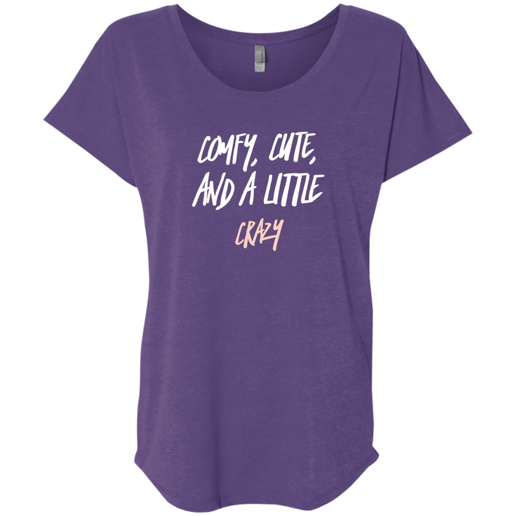 CustomCat T-Shirts Purple Rush / X-Small Cute Crazy White-Pink Font Ladies' Triblend Dolman Sleeve
