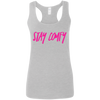 CustomCat T-Shirts Sport Grey / S Stay Comfy Hot Pink Font Ladies' Softstyle Racerback Tank
