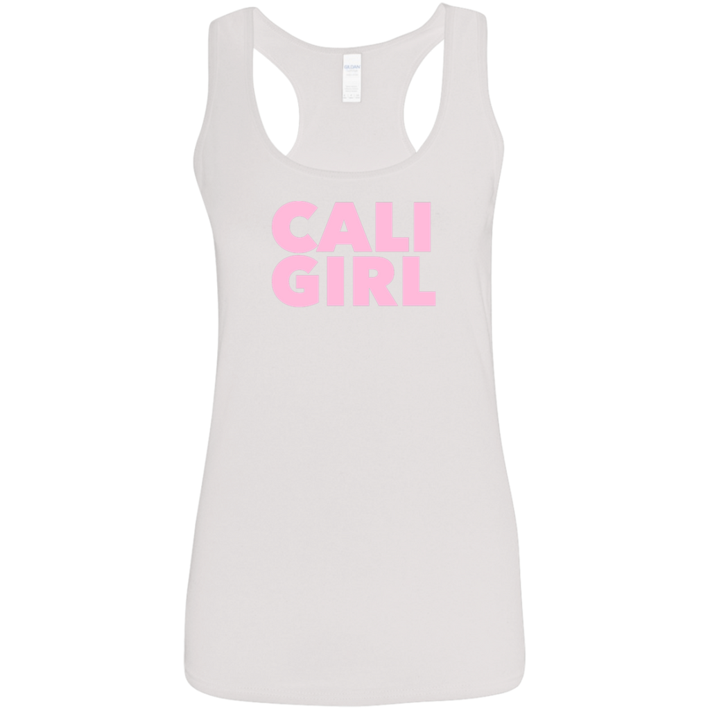 CustomCat T-Shirts White / S Cali Girl Pink Font Ladies' Softstyle Racerback Tank