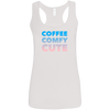 CustomCat T-Shirts White / S Coffee Comfy Cute Multi-Color Ladies' Softstyle Racerback Tank