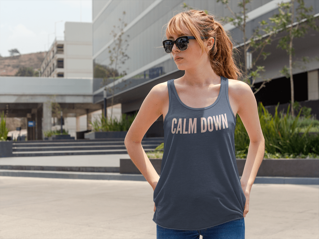 Printify Tank Top Calm Down Women's Relaxed Jersey Tank Top