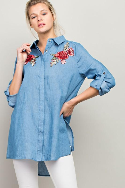 White Plum Blouses Medium / Denim Desert Rose Denim Long Shirt