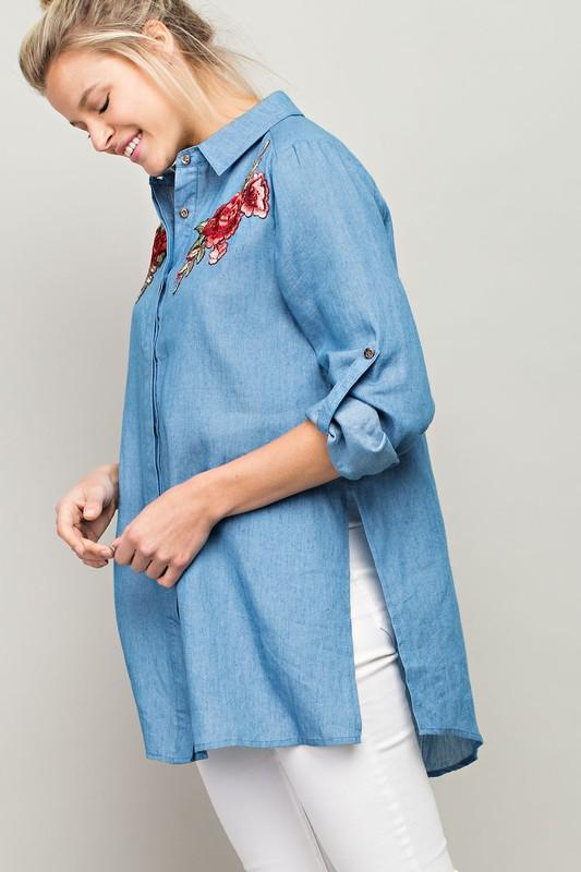 White Plum Blouses Small / Denim Desert Rose Denim Long Shirt