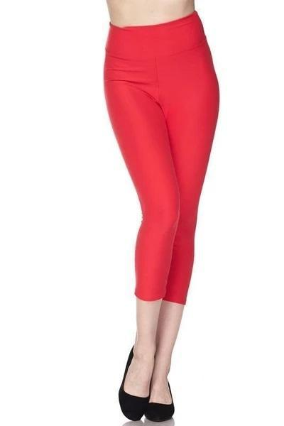 White Plum Capri Leggings Deluxe Solid Capri Leggings with 3 Inch Waistband