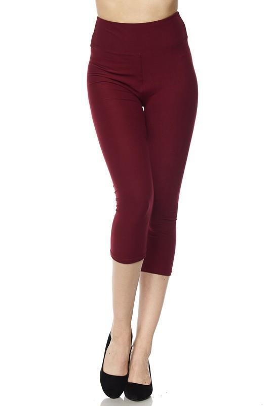 White Plum Capri Leggings One Size / Black Deluxe Solid Capri Leggings with 3 Inch Waistband