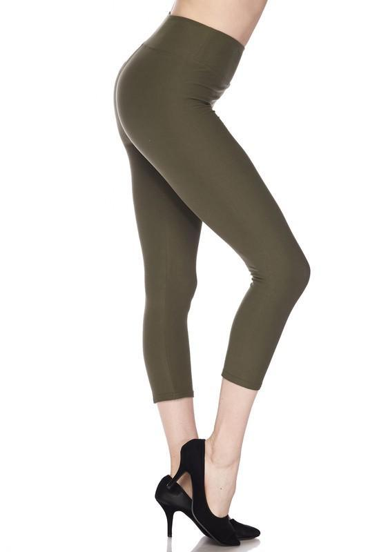 White Plum Capri Leggings One Size / Olive Deluxe Solid Capri Leggings with 3 Inch Waistband