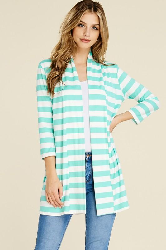 White Plum Cardigan Small / Mint Stripes Ahoy Open Front Cardigan in Mint