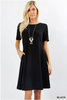 White Plum Day Dresses Small / Black Fit & Flare Pocket Day Dress